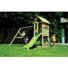 Tobogan copii, cu leagane si casuta de joaca, ATL.01, structura lemn, 360 x 360 x 295 cm