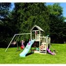 Tobogan copii, cu leagane si casuta de joaca, APL.01, structura lemn, 510 x 380 x 295 cm
