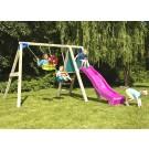 Leagan copii, cu tobogan, LT.01, structura lemn, 290 x 280 x 190 cm