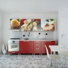Bucatarie Print Celine C44, rosu lucios + print paste, 260 cm, 12C
