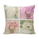 Perna decor FLO-013, roz + verde + alb, poliester + fibra poliester siliconizata, cu print floral, 43 x 43 cm