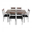 Set masa fixa cu 6 scaune bucatarie AA0180 negru