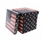 Taburet cub pliabil cu imprimeu USA stofa + imitatie piele