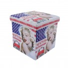 Taburet cub, cu spatiu depozitare, Marilyn Monroe, pliabil, patrat, imitatie piele multicolora, 38 x 38 x 38 cm