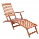 Sezlong plaja THB-D1230 pliabil structura lemn maro 140 x 56 x 95 cm