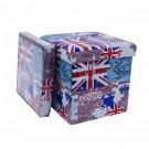 Taburet cub, cu spatiu depozitare, London, pliabil, patrat, stofa + imitatie piele, multicolor, 38 x 38 x 38 cm