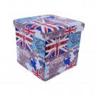 Taburet cub, cu spatiu depozitare, London, pliabil, patrat, imitatie piele multicolora, 38 x 38 x 38 cm
