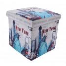 Taburet cub, cu spatiu depozitare, Statue of Liberty, pliabil, patrat, stofa + imitatie piele, multicolor, 38 x 38 x 38 cm