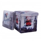 Taburet cub pliabil cu imprimeu Big Ben stofa + imitatie piele