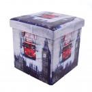 Taburet cub, cu spatiu depozitare, Big Ben, pliabil, patrat, imitatie piele multicolora, 38 x 38 x 38 cm