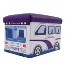 Taburet cub, cu spatiu depozitare, Police, pliabil, dreptunghiular, stofa + imitatie piele, multicolor, 48 x 32 x 32 cm