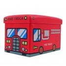 Taburet cub, cu spatiu depozitare, Fire Truck, pliabil, dreptunghiular, stofa + imitatie piele, multicolor, 48 x 32 x 32 cm