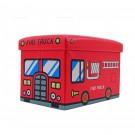 Taburet cub pliabil cu imprimeu Fire Truck stofa + imitatie piele