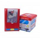 Taburet cub pliabil cu imprimeu Ambulance stofa + imitatie piele