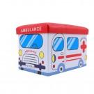 Taburet cub, cu spatiu depozitare, Ambulance, pliabil, dreptunghiular, imitatie piele multicolora, 48 x 32 x 32 cm