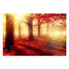 Tablou dualview DTB7292, Dimineata rosie, canvas + lemn de brad, stil peisaj, 60 x 90 cm