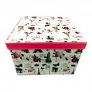 Cutie depozitare/cadou D36, rosu + roz + portocaliu + crem, 18.5 x 18.5 x 13.5 cm