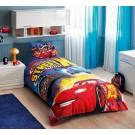 Lenjerie de pat, copii, 1 persoana, Disney Cars Nitroade, bumbac 100%, 3 piese, multicolor