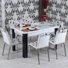 Set masa extensibila cu 6 scaune bucatarie R344 alb + negru 3C