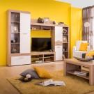 Biblioteca living Albena, sonoma + alb, 270 cm, 3C