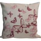 Perna decor, bej + rosu + roz, bumbac + fibra siliconizata, cu print fluturi, 45 x 45 cm