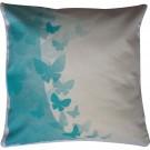 Perna decor, bej + albastru, bumbac + fibra siliconizata, cu print fluturi, 45 x 45 cm