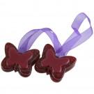 Magneti decorativi perdea Butterfly, set 2 bucati, forma fluture, cu panglica de fixare, 4 x 5 x 1 cm, rosu + mov
