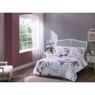 Lenjerie de pat, 2 persoane, Davina, bumbac 100%, 4 piese, alb + mov