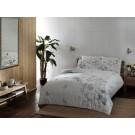 Lenjerie de pat, 2 persoane, Vanessa, bumbac 100%, 4 piese, alb + gri