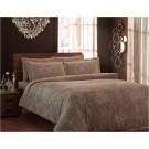 Lenjerie de pat, 2 persoane, Ribon, bumbac 100%, 4 piese, maro + bej