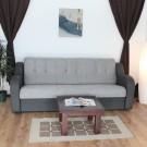 Canapea extensibila 3 locuri Delia, cu lada, gri, 222 x 96 x 90 cm, 2C
