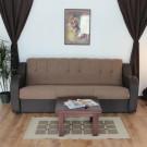 Canapea extensibila 3 locuri Delia, cu lada, maro, 96 x 222 x 90 cm 2C