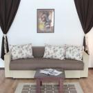 Canapea extensibila 3 locuri Dorica, cu lada, crem + maro, 225 x 100 x 76 cm, 2C