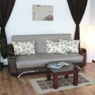 Canapea extensibila 3 locuri Florina, cu lada, maro + bej, 225 x 105 x 99 cm, 2C