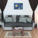 Canapea extensibila 3 locuri Irina, cu lada, gri, 225 x 105 x 99 cm, 2C