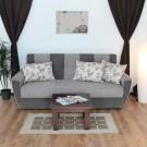 Canapea extensibila 3 locuri Irina, cu lada, gri + bej, 225 x 105 x 99 cm, 2C