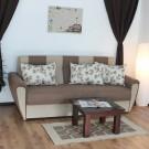 Canapea extensibila 3 locuri Irina, cu lada, crem + maro, 225 x 105 x 99 cm, 2C