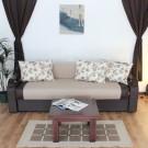 Canapea extensibila 3 locuri Sorana, cu lada, Melo 03, maro + crem, 100 x 225 x 76 cm 2C