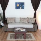 Canapea extensibila 3 locuri Sorana, cu lada, Melo 2517, maro + gri, 100 x 225 x 76 cm 2C