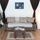 Canapea extensibila 3 locuri Sorana, cu lada, maro + bej, 100 x 225 x 76 cm 2C