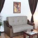 Canapea extensibila 2 locuri Melania S, cu lada, maro + bej, 163 x 102 x 99 cm, 1C
