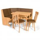 Coltar bucatarie Talia, cu 2 scaune + masa, cu lada, fag + crem, 143 x 112 x 87 cm 3C