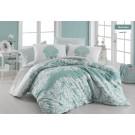 Lenjerie de pat, 2 persoane, Hanedan, bumbac 100%, 4 piese, verde + alb