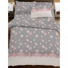Lenjerie de pat, 2 persoane, 20149264, bumbac 100%, 4 piese, gri + roz + bej