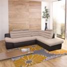Coltar living extensibil pe stanga Wog, cu lada, maro + bej, 270 x 225 x 100 cm, 3C
