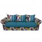 Canapea extensibila 3 locuri Soleto, cu lada, albastru + multicolor , 100 x 249 x 77 cm 4C