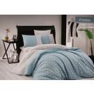 Lenjerie de pat, 2 persoane, Prizma, bumbac 100%, 4 piese, albastru + alb