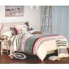 Lenjerie de pat, 2 persoane, Vanessa, microfibra 100%, 4 piese, portocaliu + maro