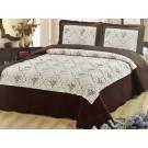 Cuvertura de pat + fete de perna, 02, microfibra, maro + alb, 230 x 250 cm