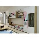 Biblioteca living Valentino, stejar + print, 360 cm, 11C